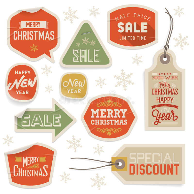 Download Stickers And Labels For Christmas And New Year Stock Illustration - Image: 35162593