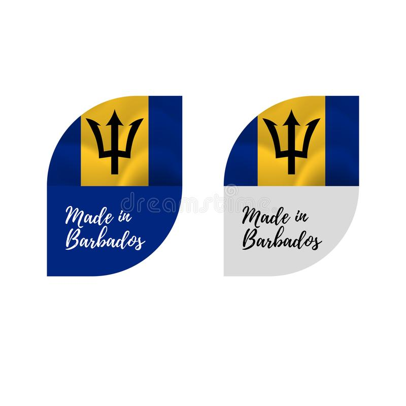 Download stickers made in barbados waving flag isolated on white background vector illustration