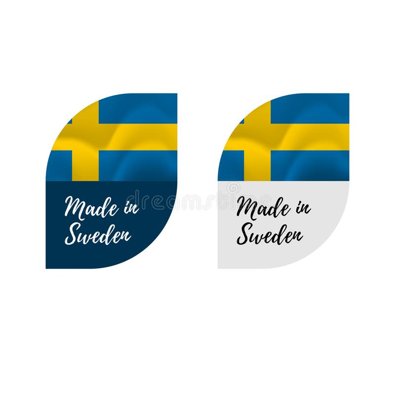 Stickers Made in Sweden. Waving flag. isolated on white background. Vector illustration. vector illustration