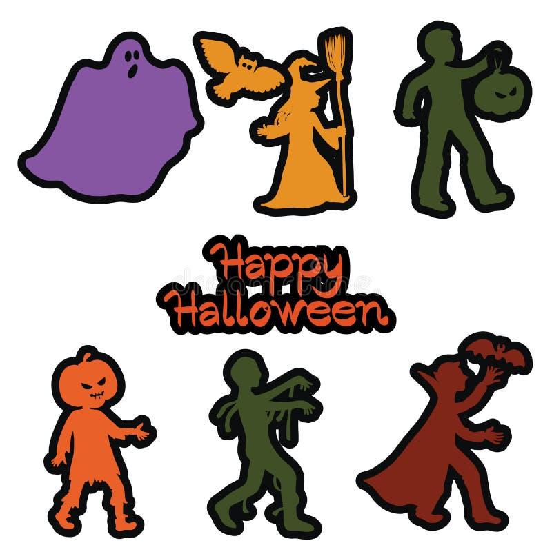 Stickers met de helden van de vakantie Halloween royalty-vrije illustratie
