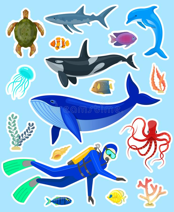 Stickers met oceaandieren stock illustratie