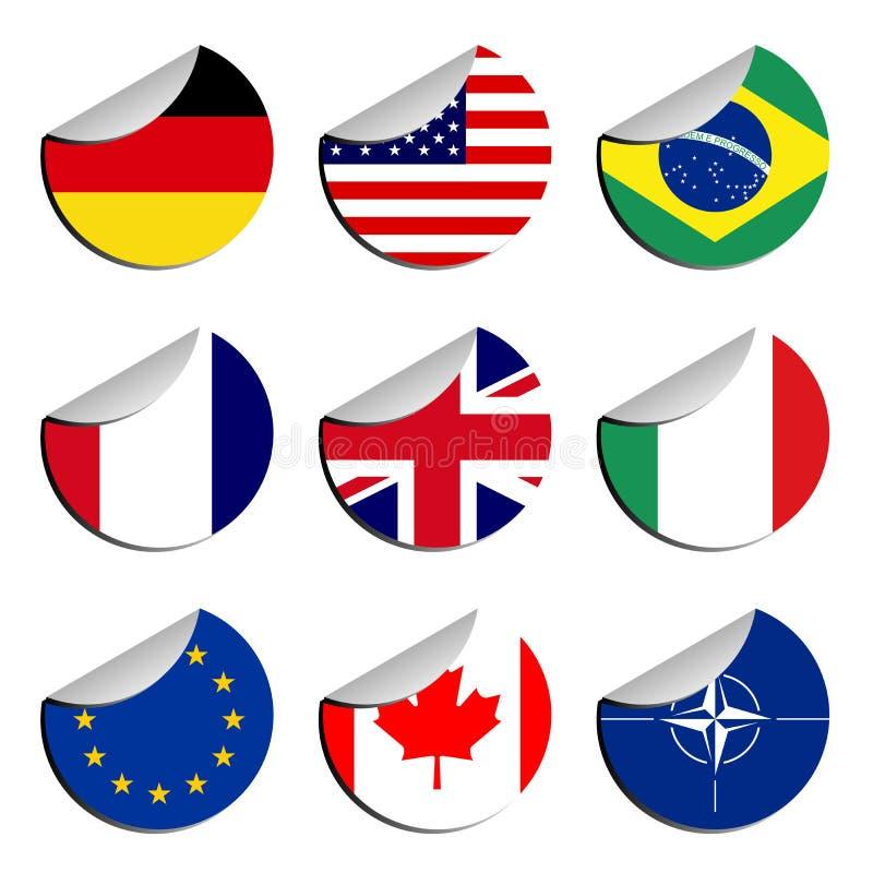 Stickers met vlaggen vector illustratie