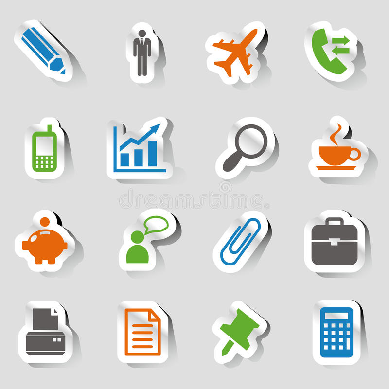 Download Stickers - Office And Business Icons Stock Vector - Image: 30937175