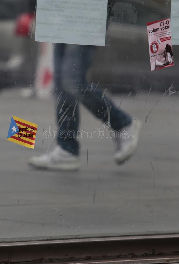 Independence referendum stickers in barcelona royalty free stock image