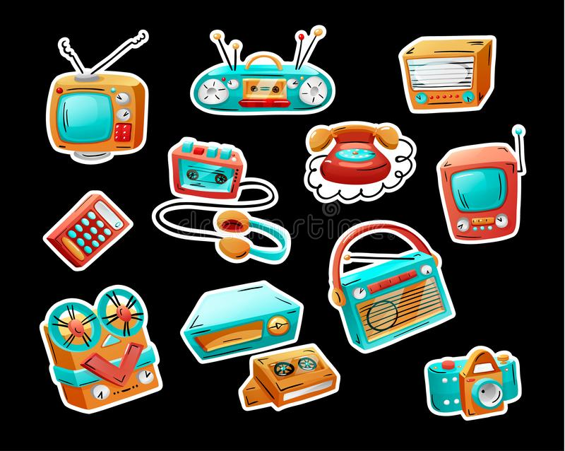 Stickers with retro devices in funny mixed style. Flat cartoon comics. Vector illustration royalty free illustration