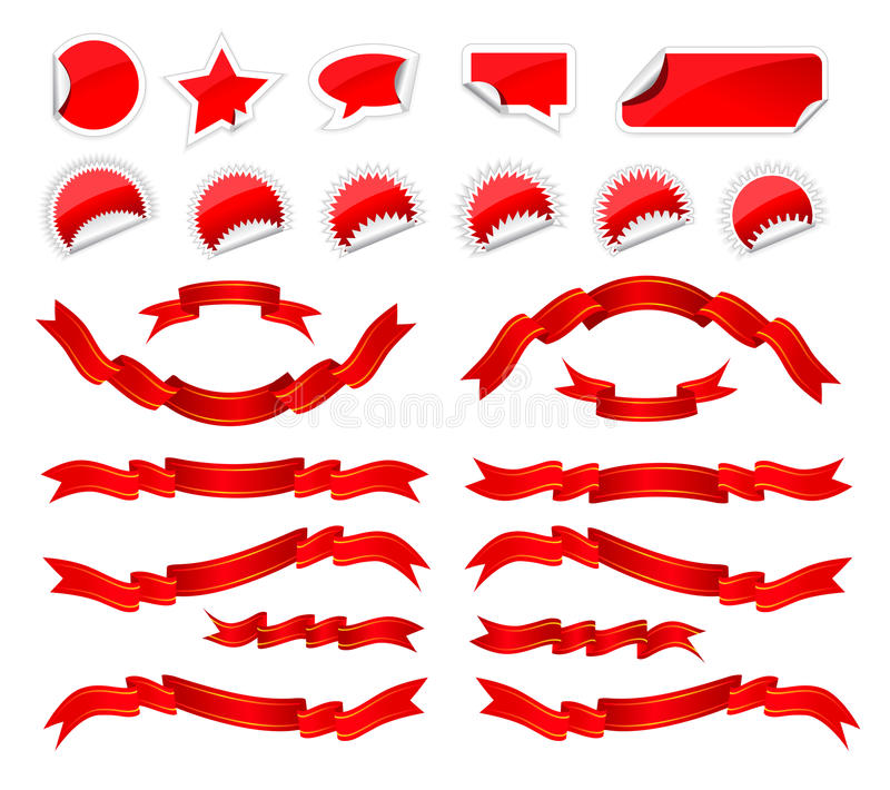 Stickers and ribbons set. Red stickers and ribbons set on white background stock illustration