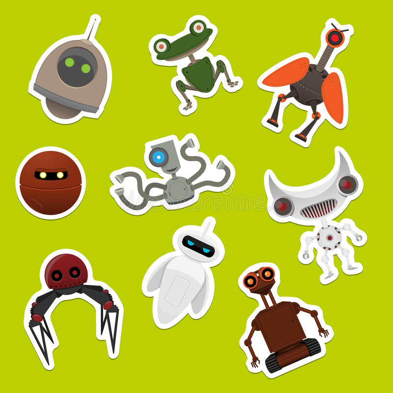 Download Stickers with robots stock vector. Image of electronic - 25390479