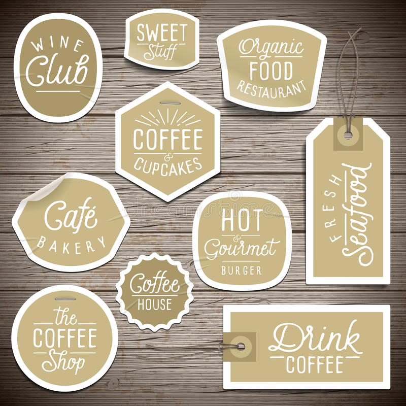 Stickers on rustic wood background for cafe and restaurant royalty free illustration
