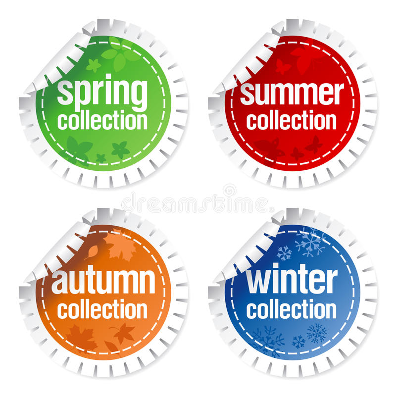 Download Stickers For Seasonal Collection Stock Vector - Illustration of manufacturing, retail: 14393177