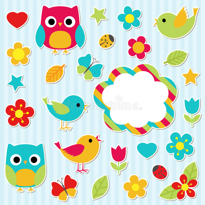 Stickers set vector illustration