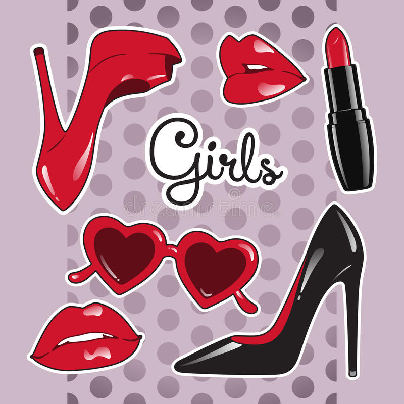 Stickers set for girls over cute purple polka dot background. High heeled shoes, heart shaped glasses, glossy lips, lipstick. Vector illustration royalty free illustration