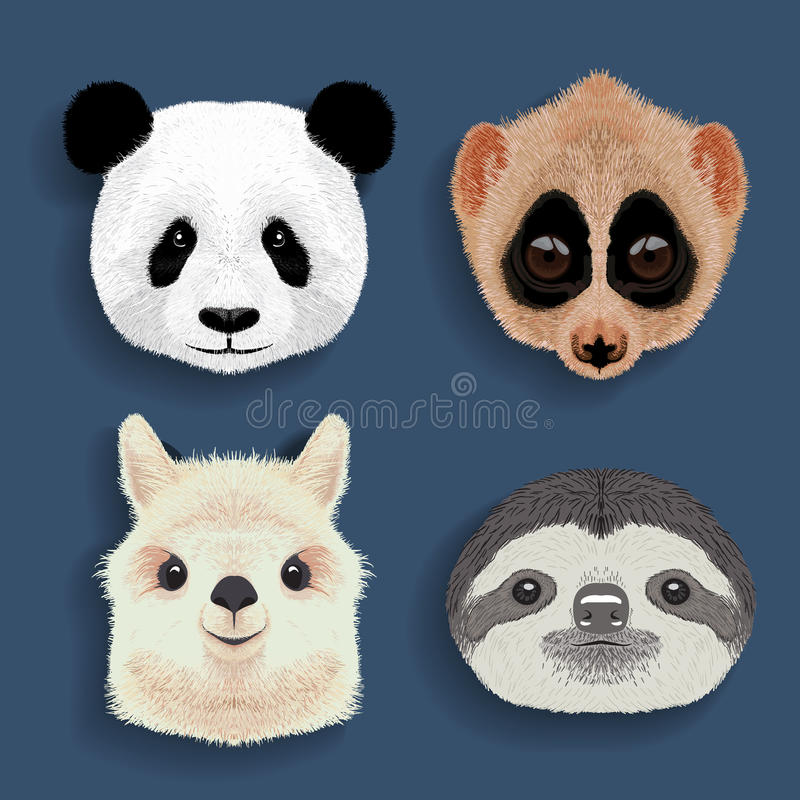 Download stickers set of panda slow loris alpaca sloth stock vector illustration of brochure