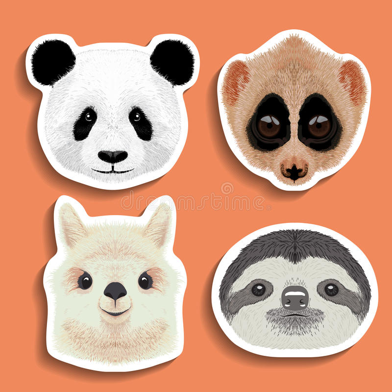 Download stickers set of panda slow loris alpaca sloth stock vector illustration of face