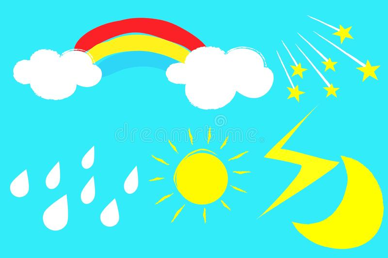 Stickers set with sun rainbow cloud moon on blue background stock image