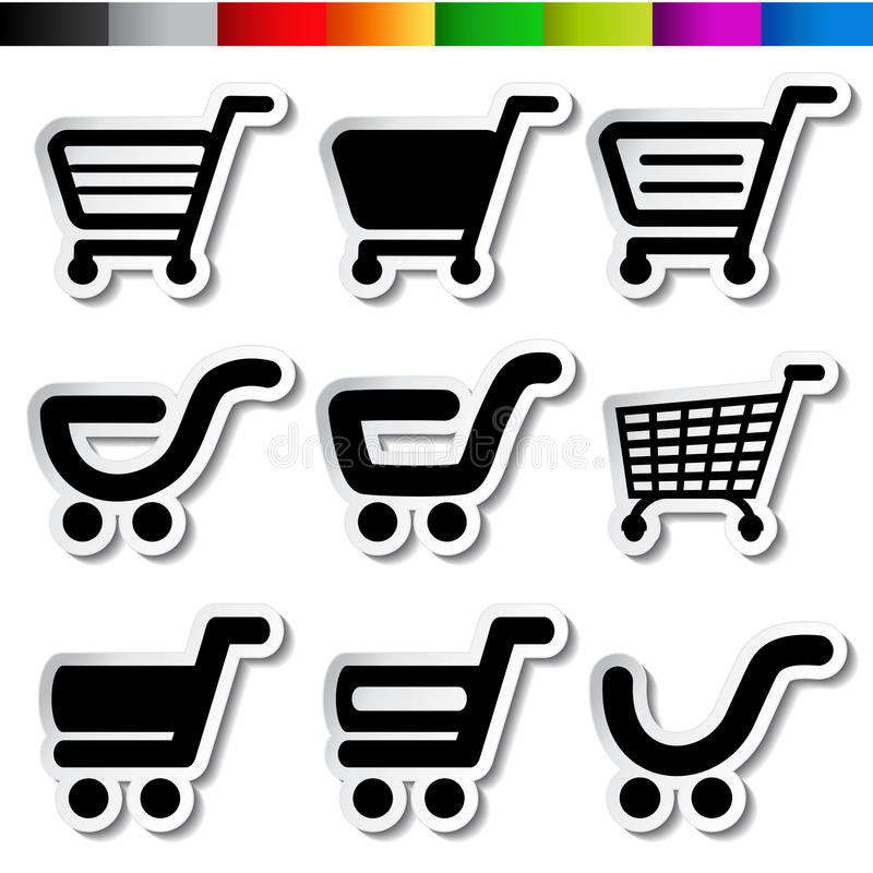 Download Stickers Of Shopping Cart, Trolley, Item, Button Stock Vector - Image: 34363926