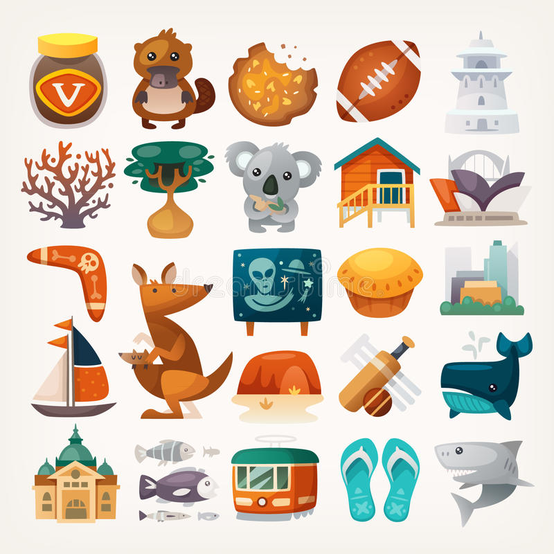 Stickers with sights and famous elements of Australian continent. Set of Australian travel icons. Symbols of the continent. Various sights and famous elements stock illustration