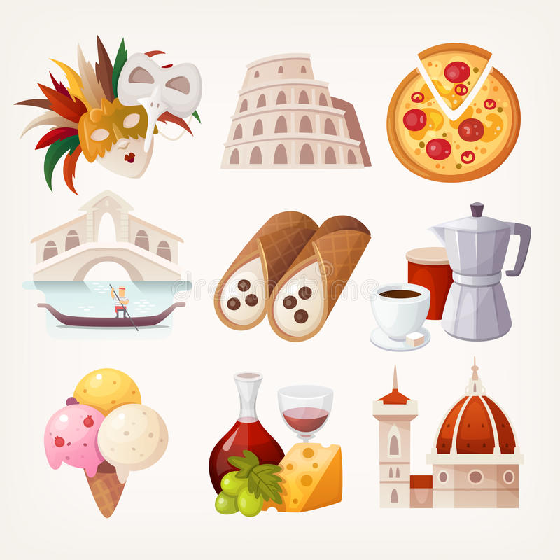 Stickers with sights and famous food of Italy. royalty free illustration