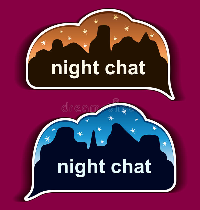 Stickers speech bubbles - night chat. Vector royalty free illustration