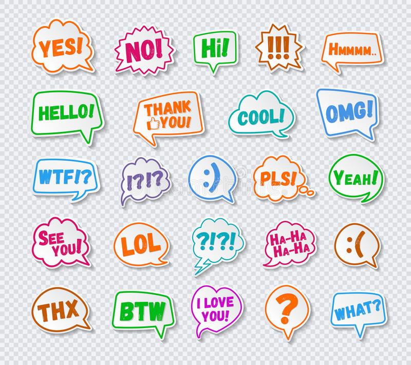 Stickers of speech bubbles set with sign - hello, yes, no, i love you royalty free illustration