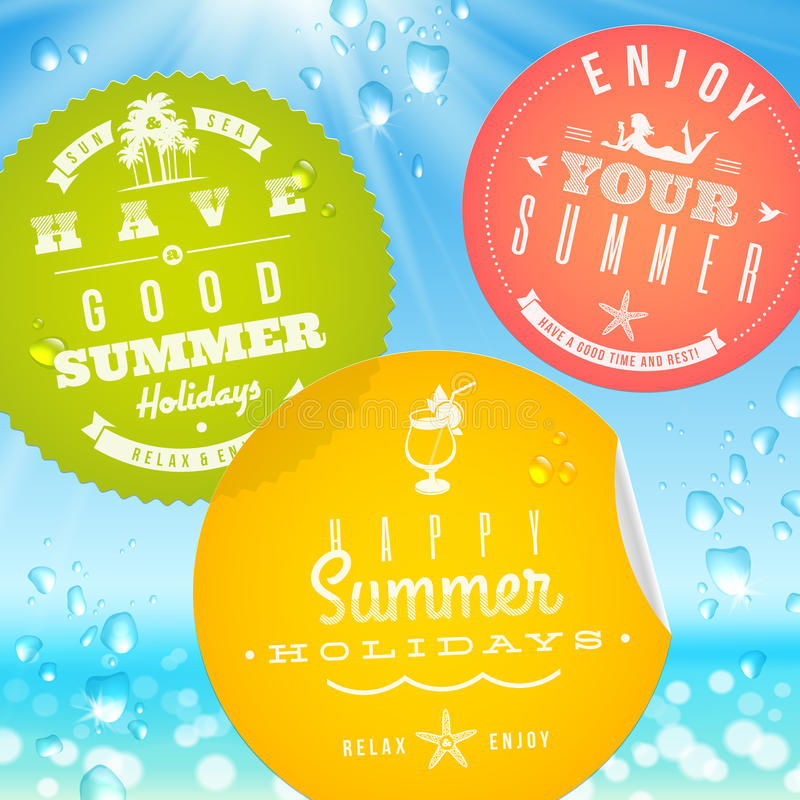 Stickers with summer vacation and travel emblems stock illustration