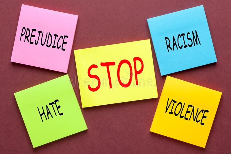 Human Appeal Concept. Stickers to human appeal with words racism, violence and prejudice stock photos