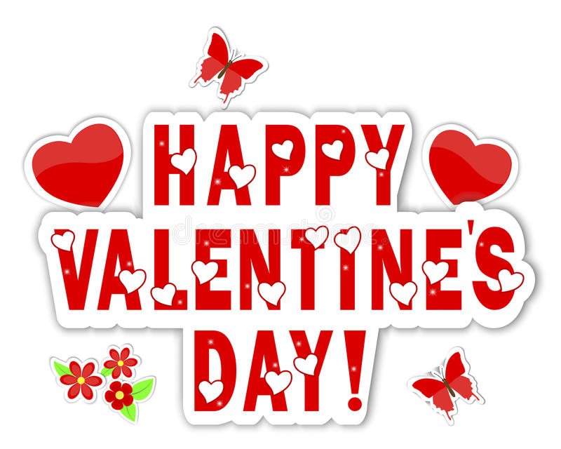 Download Stickers Valentines Day With A Beautiful Text Stock Vector