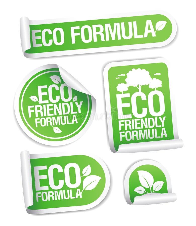 Stickers van de Formule van Eco de Vriendschappelijke. royalty-vrije illustratie