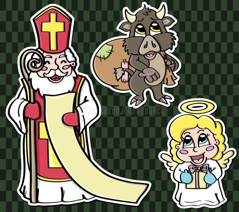 Stickers voor St. Nicholas Day royalty-vrije illustratie