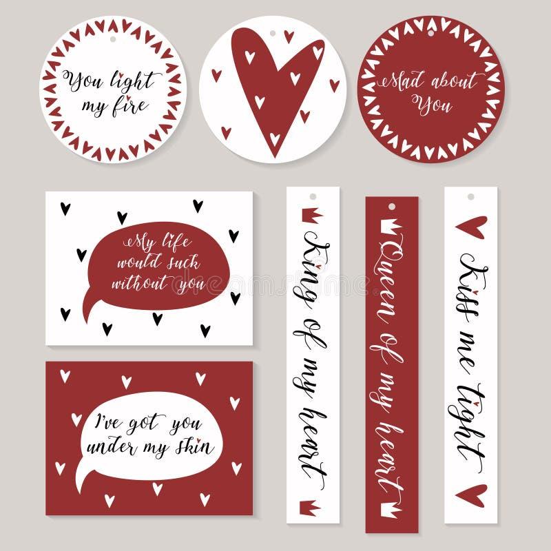 Stickers in wit rood met harten en verklaringen van liefde worden geplaatst die St gestileerd Valentine royalty-vrije illustratie