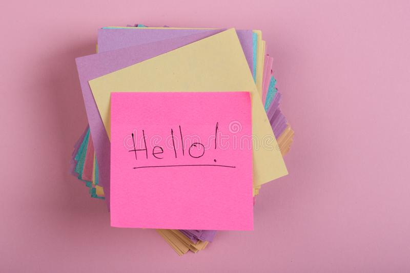 """Stickers with the words """"Hello"""" on pink background stock image"""