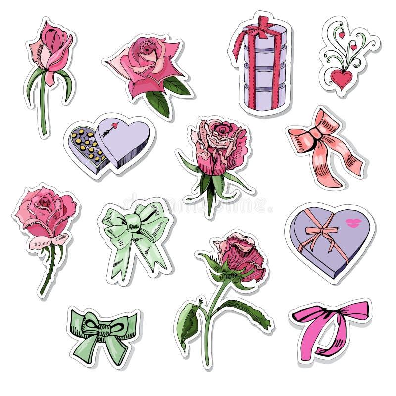 Stickersinzameling van rozen, bogen en suikergoed Hand getrokken elementen op witte achtergrond vector illustratie