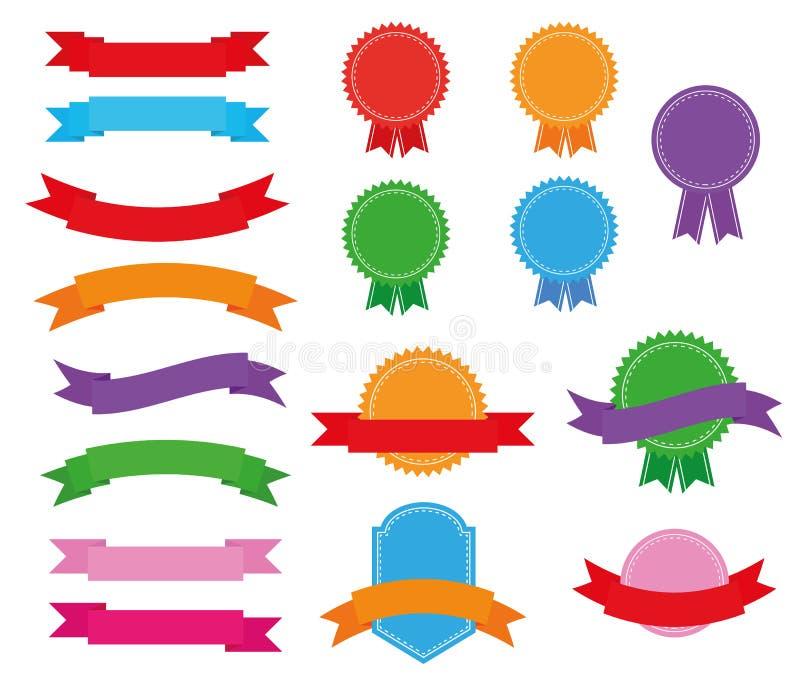 Stickerskentekens en linten stock illustratie
