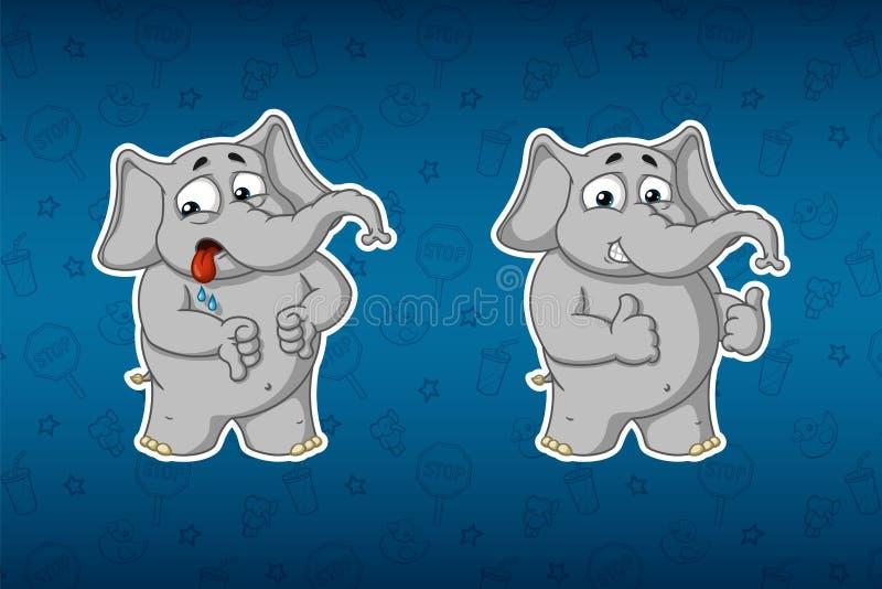 Stickersolifanten Afkeer, als Grote reeks stickers Vector, beeldverhaal stock illustratie