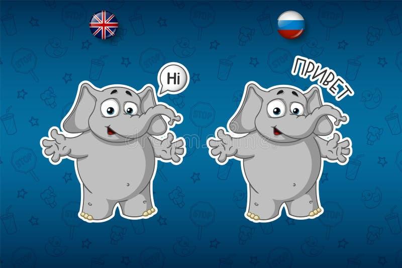 Stickersolifanten Hallo, zegt hello Grote reeks stickers in Engelse en Russische talen Vector, beeldverhaal stock illustratie
