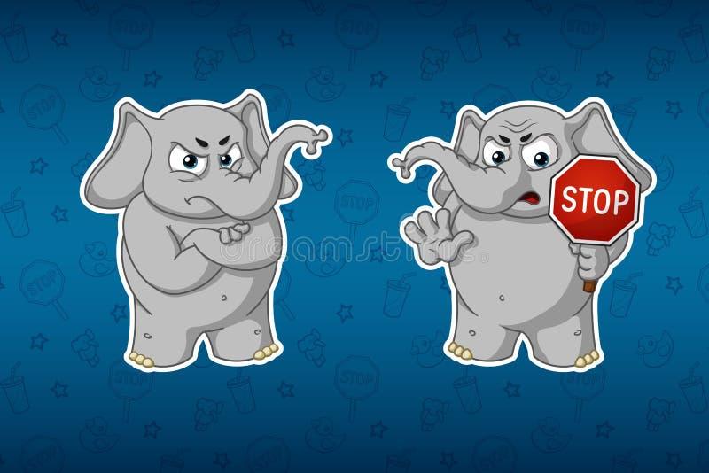 Stickersolifanten Het eindeteken, houdt in handen waarschuwing Nelovolen Grote reeks stickers Vector, beeldverhaal stock illustratie