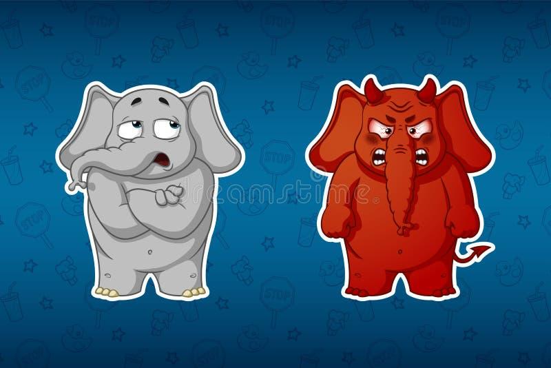 Stickersolifanten Hij betwijfelt twijfel Boos rood met hoornen Grote reeks stickers Vector, beeldverhaal vector illustratie