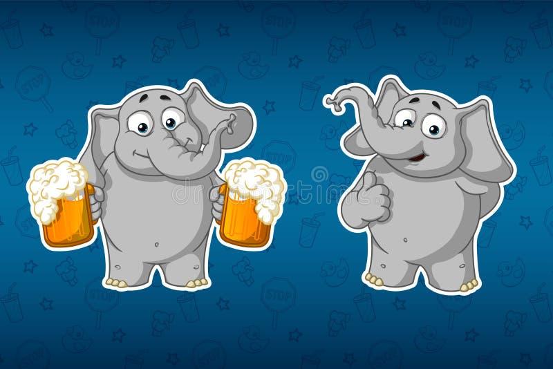 Stickersolifanten Hij houdt mokken bier en biedt te drinken aan Hij hief zijn vinger omhoog, als op Grote reeks stickers Vector,  stock illustratie