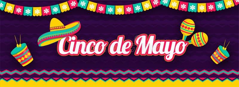 Stickerstijl het van letters voorzien van Cinco De Mayo met illustratie van sombrerohoed, maracas en trommel op purpere achtergro stock illustratie