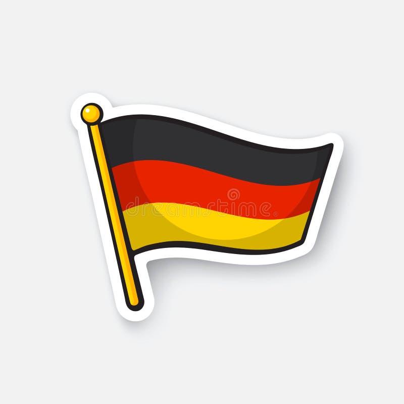 Stickervlag van Duitsland op vlaggemast stock illustratie