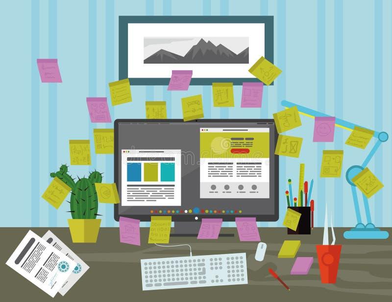 Stickies op het computerscherm in het bureau stock illustratie