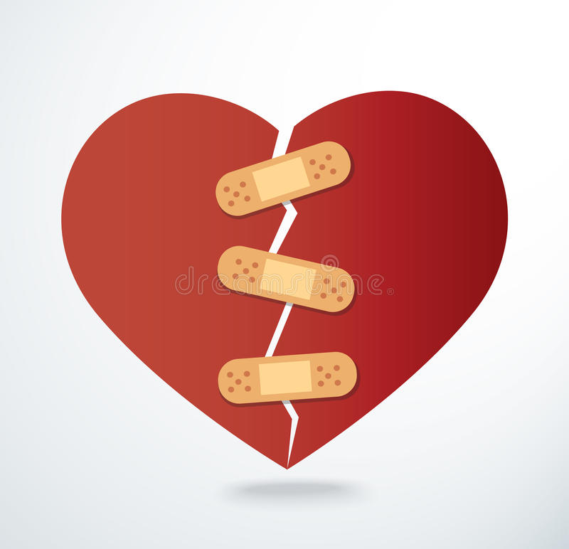Sticking plaster on broken heart icon vector. EPS 10 royalty free illustration