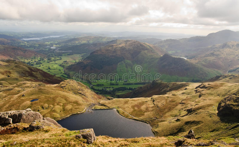 Stickle tarn and Langdale Valley. Langdale Valley and Stickle Tarn, Lake District stock image