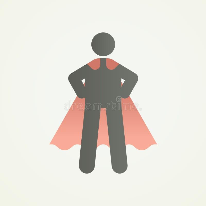 Stickman与超级英雄姿势和海角的字符形象 导航力量、领导、成功和自我克制力的例证 库存例证