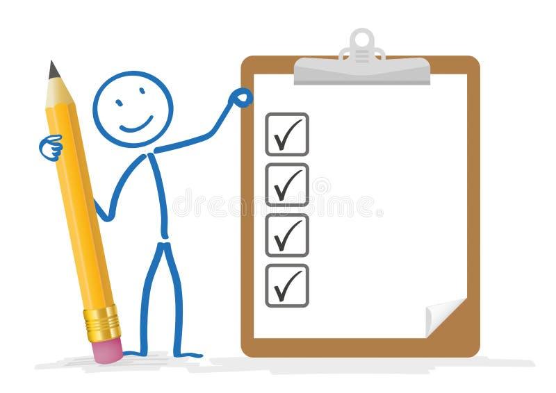 Stickman铅笔剪贴板清单 向量例证