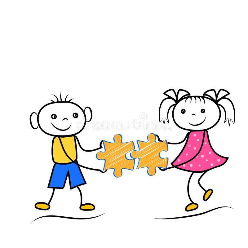 Stickman boy and girl holding puzzle icons. Teamwork or problem solving cartoon figures. Vector illustration vector illustration