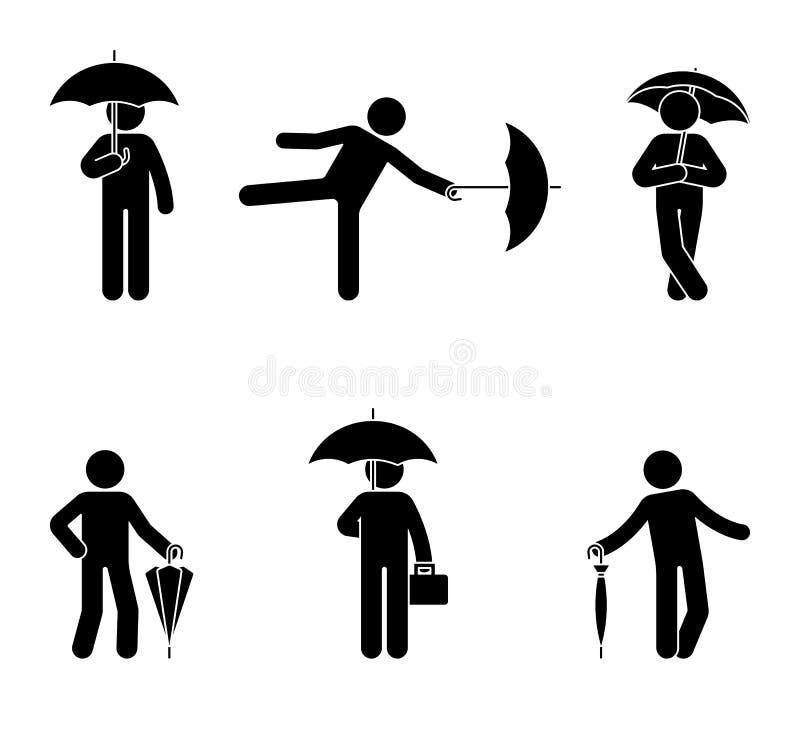 Stickman con el sistema del icono del paraguas Silueta negra del varón con el accesorio resistente de la lluvia en blanco stock de ilustración