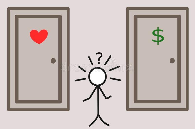 Stickman i pojęcie ilustracja ciężkiego wyboru pieniądze lub miłości ilustracja wektor