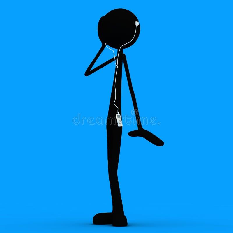 Stickman - ipod - blauw stock illustratie