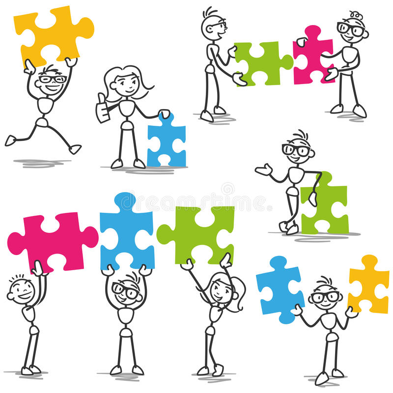 Stickman jigsaw puzzle strategy teamwork. Set of vector stick figures: Stickman with jigsaw puzzle pieces, teamwork, strategy vector illustration