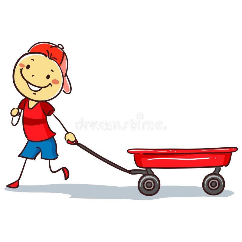 Stickman-Junge, der einen roten Lastwagen zieht stock abbildung